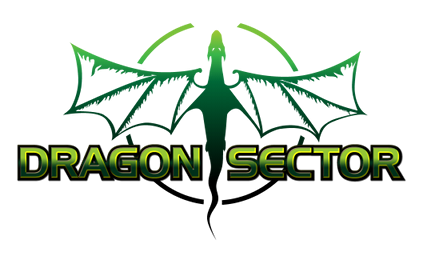 A green dragon in a partial circle, with Dragon Sector name on top