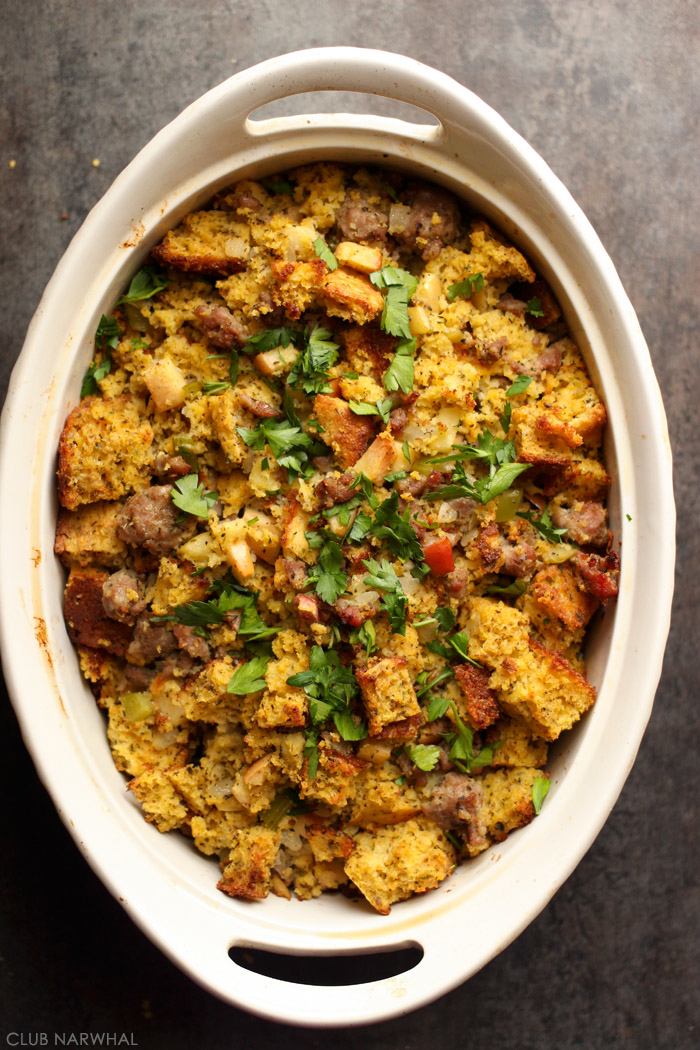 Cornbread Stuffing with Sausage and Apples   My very favorite stuffing recipe!