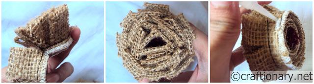 джут, мешковину-цветы-учебник для поделок