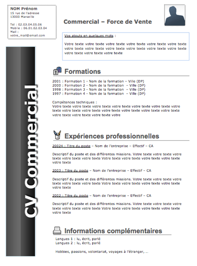 exemple cv responsable commercial