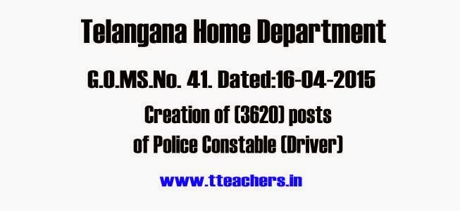 Police Constable,Drivers,Newly Created Police Jobs Details,Home Department,Police Constables sanctioned post,Telangana/TS Police Constable (Driver) 3620 Posts Created by Home Dept
