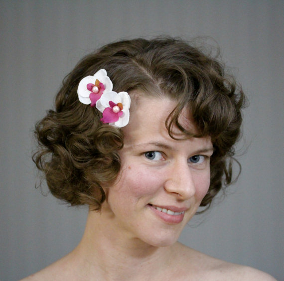 Pink & White Orchid Hair Pins by ChatterBlossom #orchid #pinup #vintage #retro