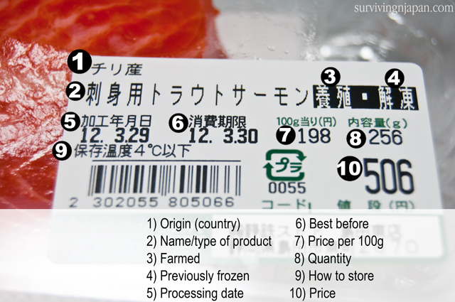 salmon, Japan, food label, Japanese, English,