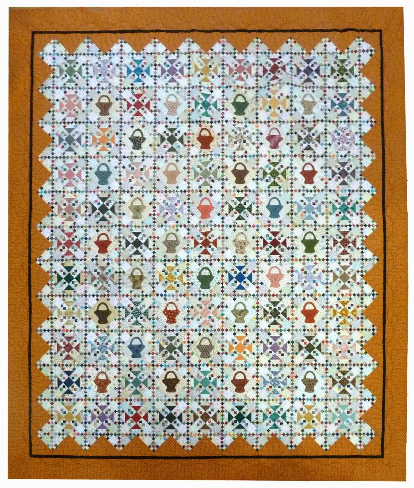 Come quilt sue garman january 2015 shoo flyfour patch prairie star blocks in the alternate block spaces she used appliqued basket blocks and she set the entire set of blocks on point bankloansurffo Image collections