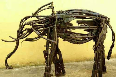 elephant made out of guns art