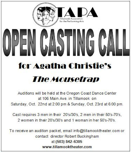 audition announcement tillamook association for the performing arts