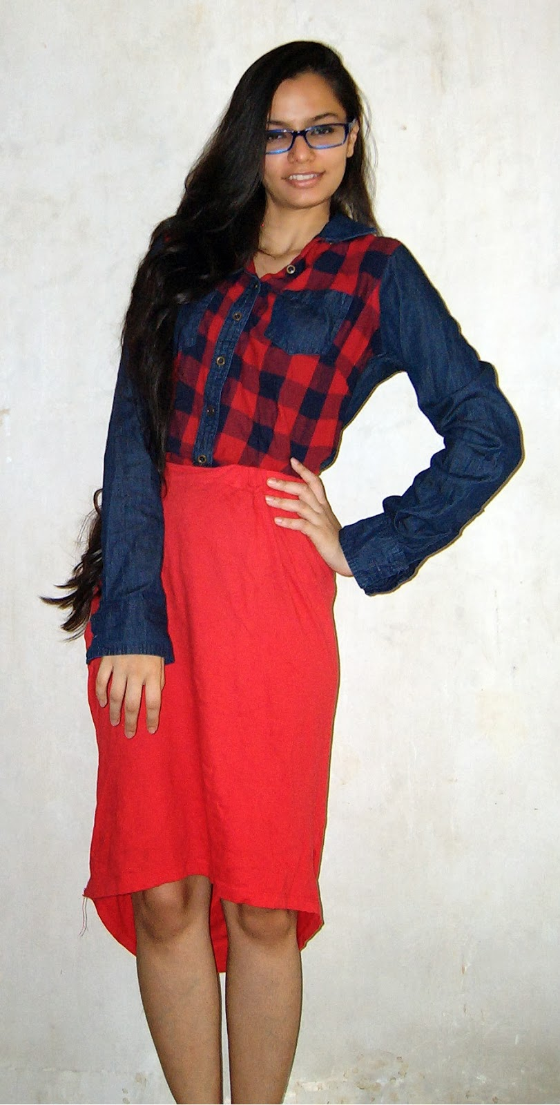 tartan shirt, denim patched shirt, red skirt, dipped hem skirt