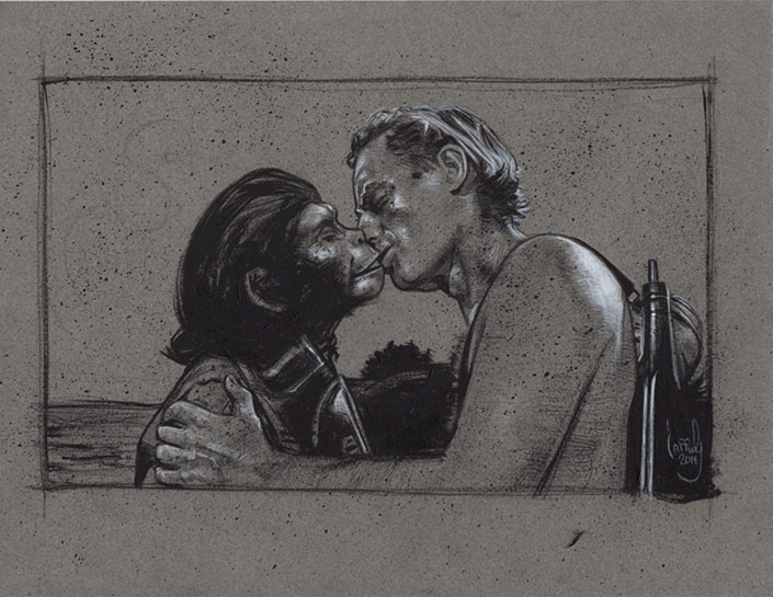 Taylor kissing Dr. Zira, Artwork is Copyright © 2014 Jeff Lafferty