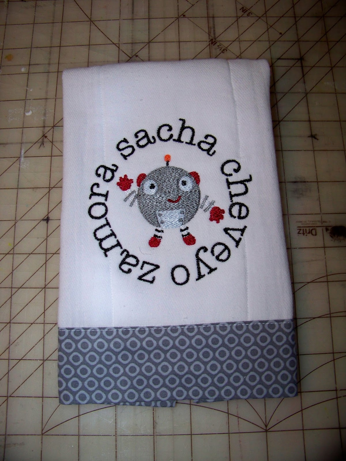 With Glittering Eyes Burp Cloth Tutorial Personalized Baby Project 1
