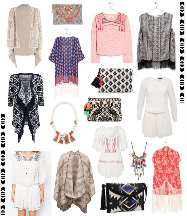 Boho-Style, Hippie Mode, Bohemian Style, Ethno-Jacke mit Perlen, Bedruckter Kaftan, Poncho mit Azteken Muster