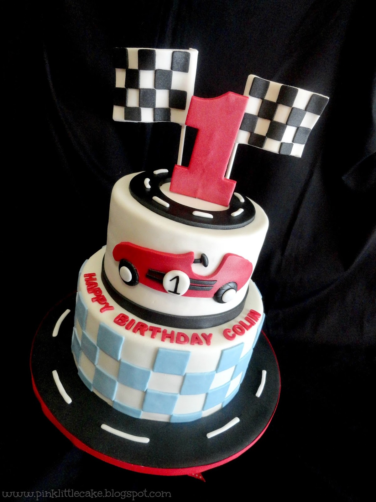 My Pink Little Cake Race Car Theme 1st Birthday Cake