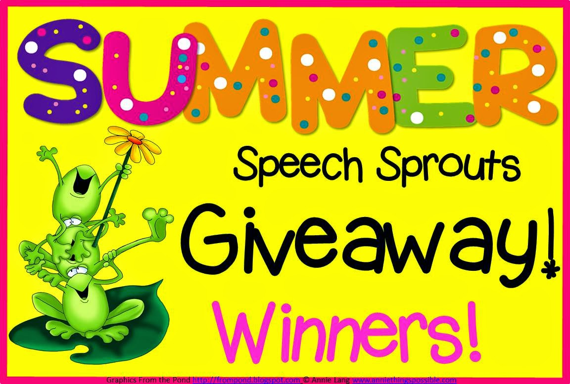 Speech Sprouts Summer Giveaway Winners www.speechsproutstherapy.com