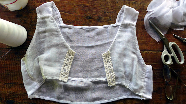 Gauze garment with crochet trim