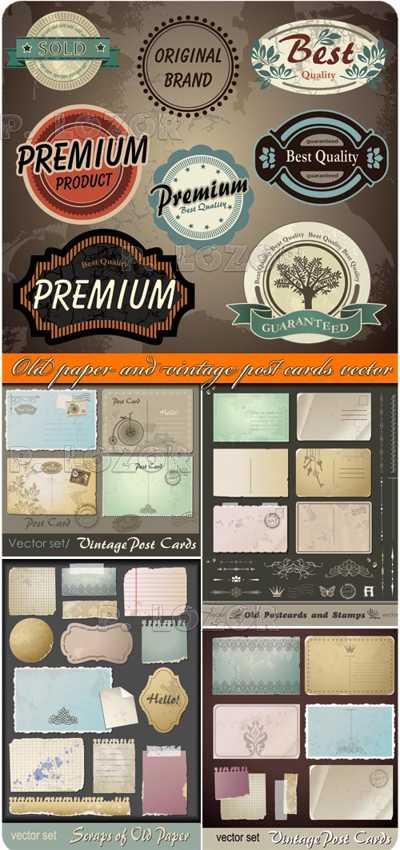 Old paper vintage post cards vector