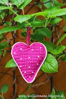 Häkeln : gehäkeltes Herz als Dankeschön, Mitbringsel oder Geschenk zum Muttertag