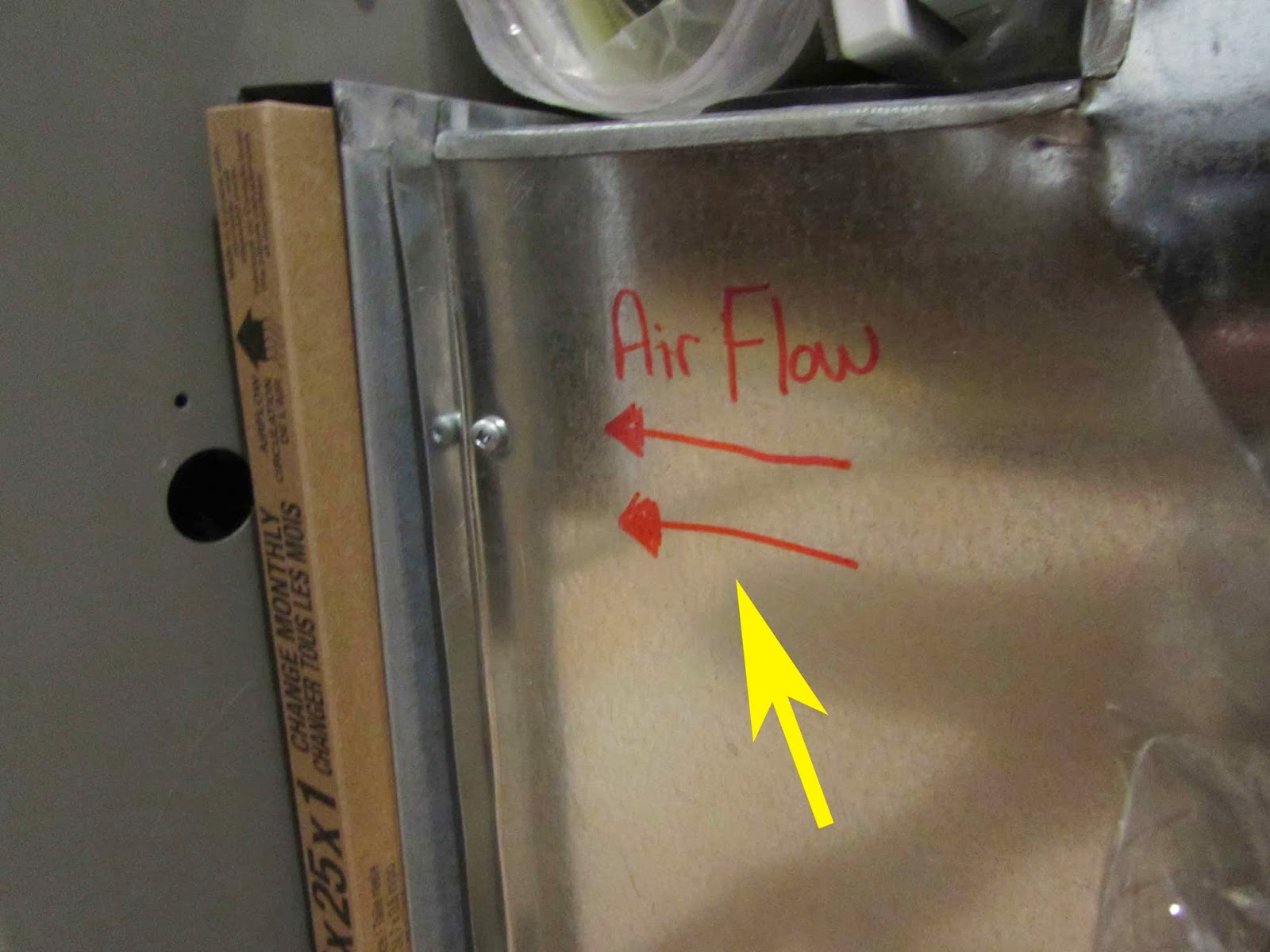 Furnace air flow, note arrow on filter is the same direction ...