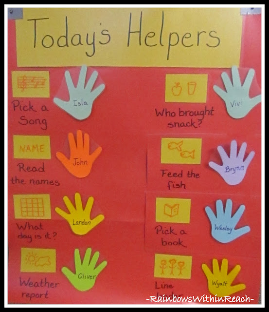 photo of: DIY Preschool Job Chart via RainbowsWithinReach
