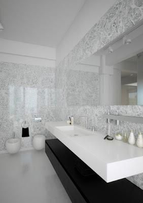 baño pequeño blanco y negro