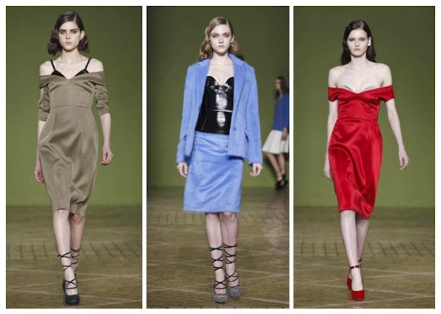 Sweetheart necklines and off-the-shoulder dresses at Jonathan Saunders, LFW