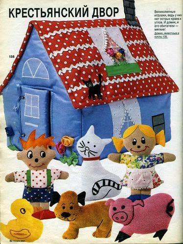 Moldes casinha, bonequinhos e bichinhos de tecido