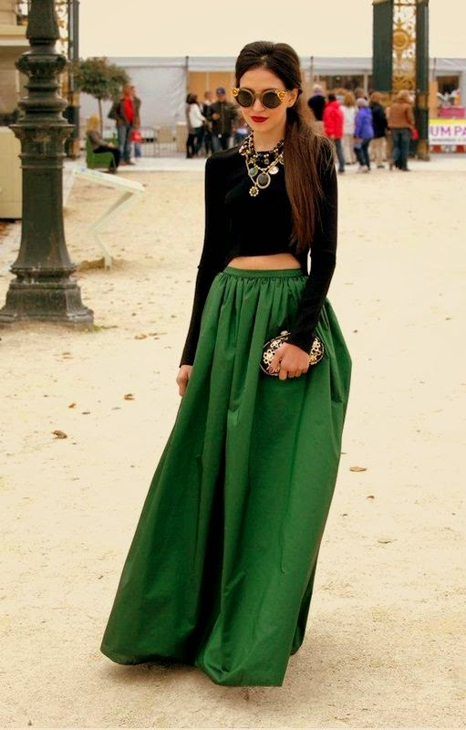 Must Have Skirts. green skirt with full-sleeve black crop top and statement necklace find more mens fashion on