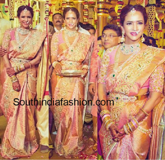 lakshmi manchu in kanjeevaram saree at manoj wedding