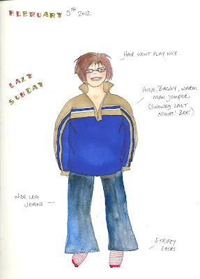 Carmen Wing - What I Wore Today Journal page - Sketchbook. Watercolours & Copics