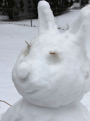 closeup of a snowman rabbit