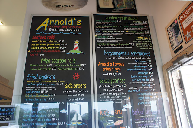 The menu at Arnold's in Eastham, Cape Cod