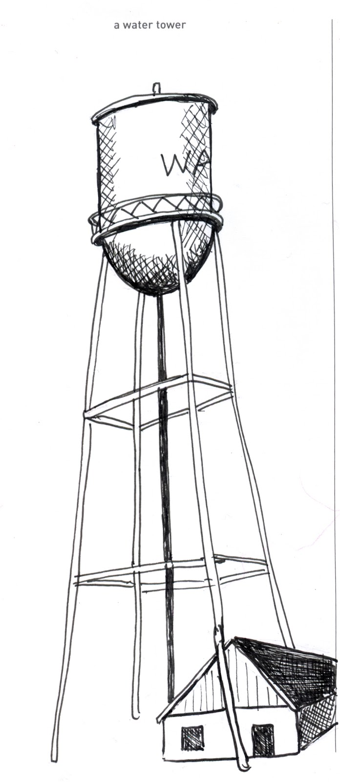 642 things to draw 52 a water tower pen and ink rendered by ana
