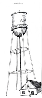 642 Things to Draw 52 - A Water Tower - Pen and Ink rendered by Ana Tirolese ©2012