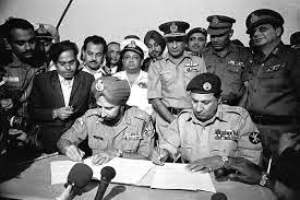 Surrender moment: December 16, 1971. Lieutenant General Amir Khan Niazi and Lieutenant General Jagjit Singh Aurora photo