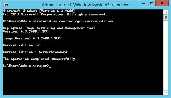 Wynik polecenia wyświetlającego wersję Windows