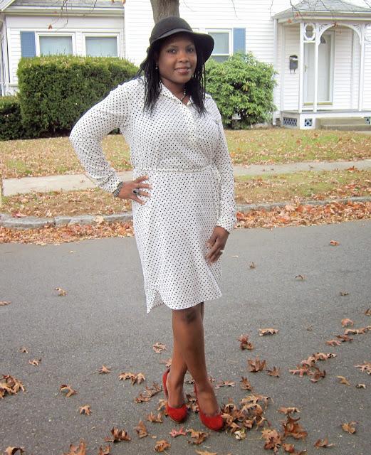 Modest shirt dress, Floppy hat, suede pumps