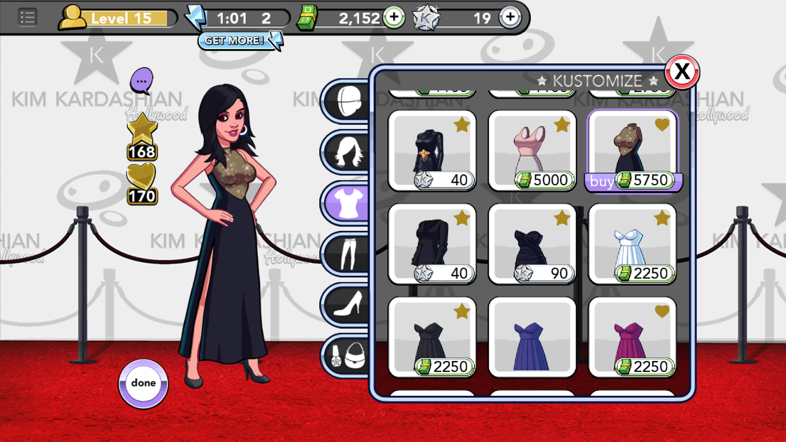 Kim Kardashian: Hollywood game - Kustomize screen for buying and changing clothes
