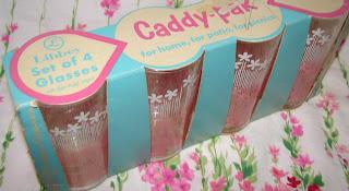Vintage Libbey glasses pink floral