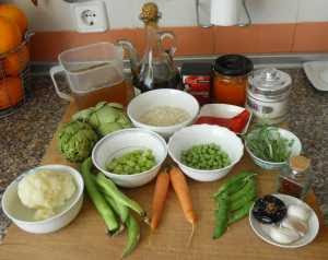 Ingredientes para el arroz de verduras.