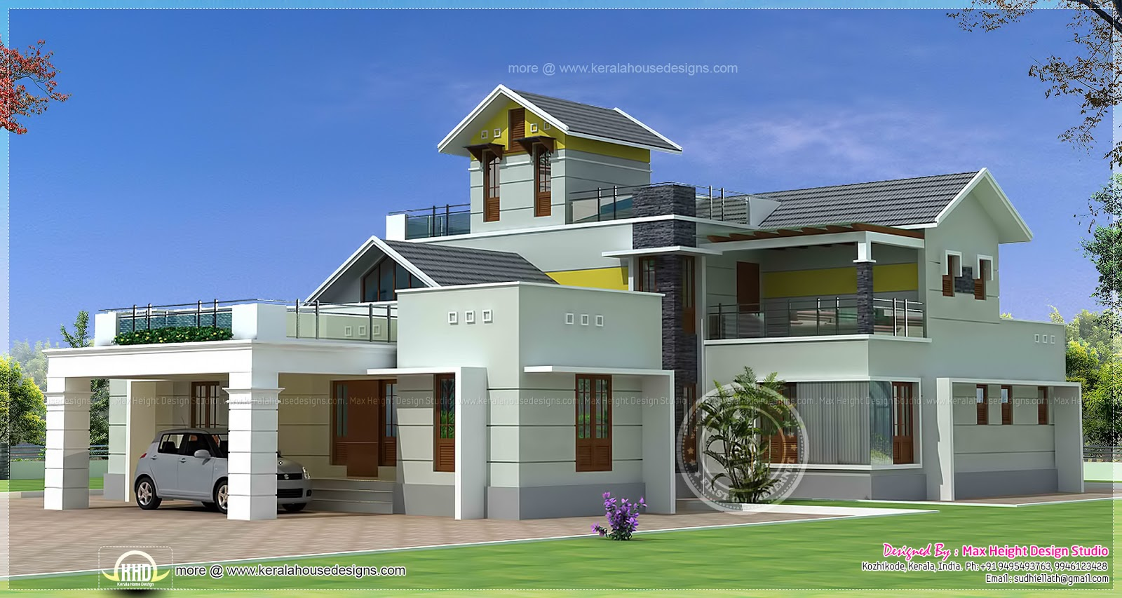 379 square meter luxury home exterior home kerala plans for Luxury house exterior designs