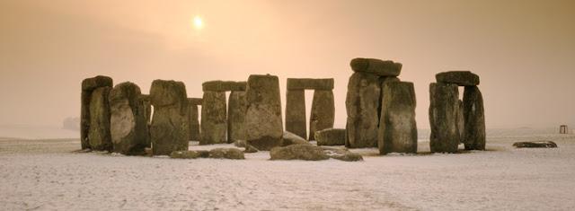Winter Scene Stonehenge in Snow