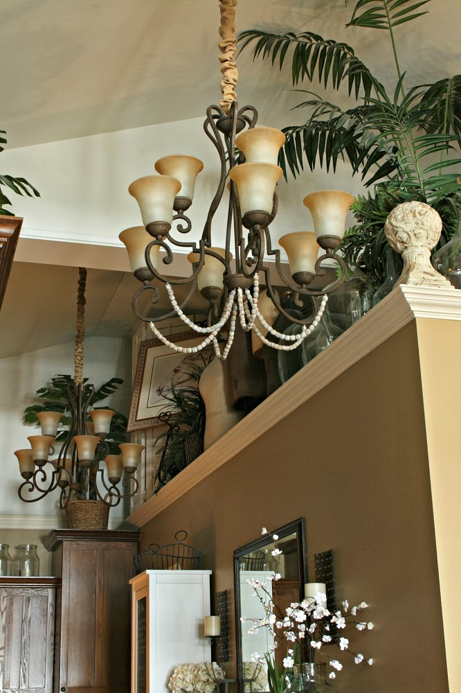 overstock grecian chandelier, annie sloan paint, wood beads