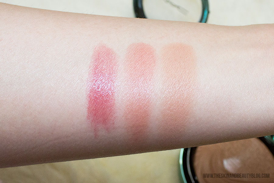 MAC Mystical Lipstick, MAC Sea Me Hear Me Blush, MAC Aphrodite's Shell Bronzer Swatches