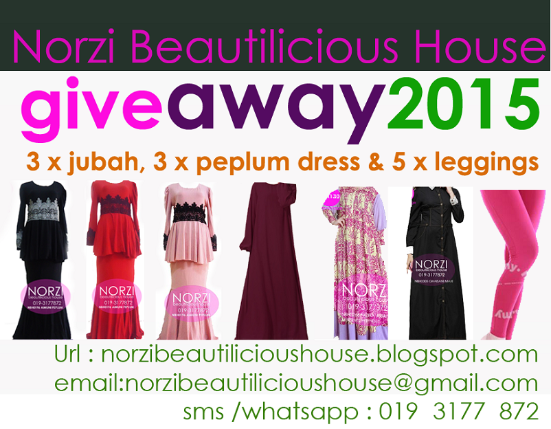 Giveaway 2015 Jubah, dress , leggings oleh Norzi Beautilicious House