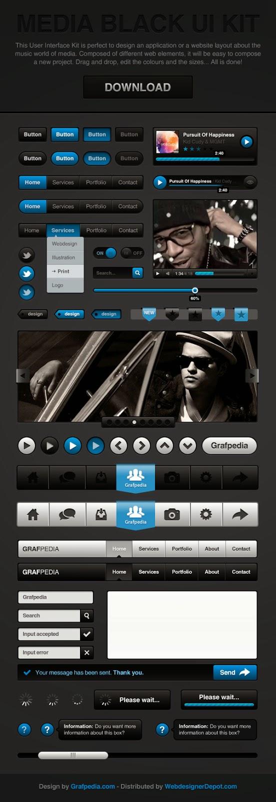 Media Black UI Kit PSD