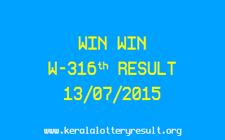 WIN WIN W 316 Lottery Result 13-7-2015