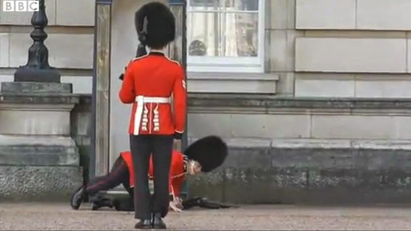 Queen's Guard falls down in Buckingham Palace (VIdeo)