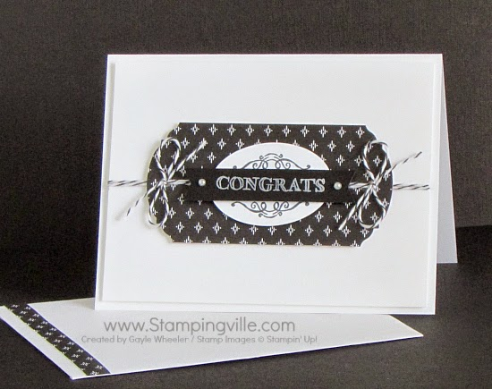 Clean and simple Congrats card using Simply Wonderful (SAB) stamp set and two punches | Stampingville #cardmaking #papercrafts #stamping #StampinUp