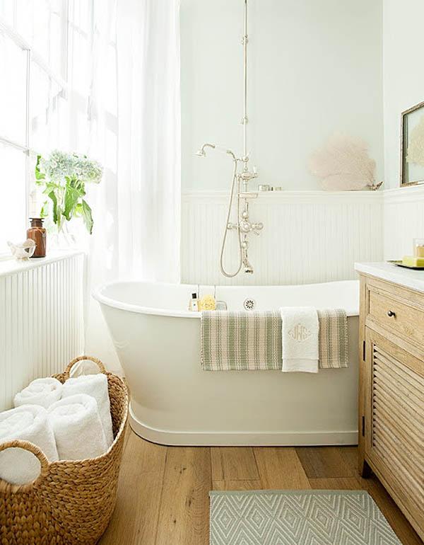 baños naturales - madera y cestos para las toallas