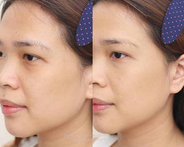 Before and after photo using Celeteque 24 Hour Photoready Liquid Foundation