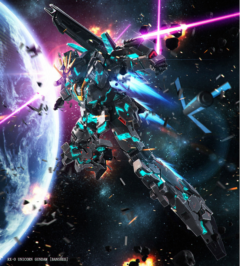RX-0 Unicorn Gundam and Banshee Final Battle ver Wallpaper ...